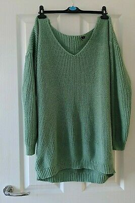 Slouchy Off The Shoulder Knitted Jumper Dress/ Oversized Top, Green/Sage M/12-14 • 8£