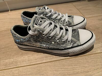 Converse Silver Size 5 UK Sequin All Star • 10£