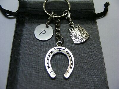 Personalised Birthday Gift - Lucky Horseshoe Charm Keyring - Choose Initial • 4.95£