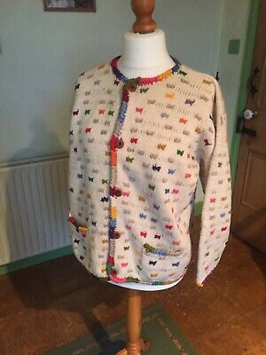 Amano 100% Wool Colourful Hand Knitted Ladies Cardigan Size M/L Patch Pockets • 18£