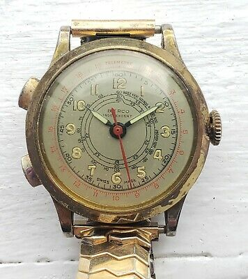$ CDN194.63 • Buy Vintage WORKING Berco Independent Chronograph Telemetre Pilot Military Watch