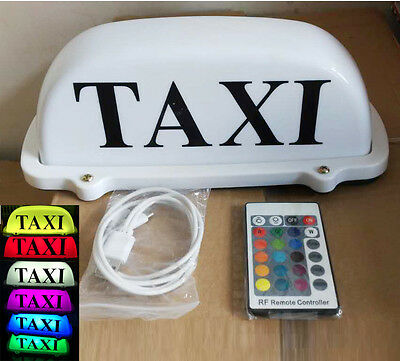 $32.95 • Buy TAXI Sign Car Driver Cab Roof Top Light Remote Color Change Rechargeable Battery