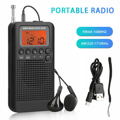 Portable Telescopic Antenna AM FM Pocket Stereo Digital LCD Receiver Radio UK • 11.43£