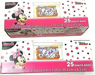 Minnie Mouse Resealable Sandwich Bags, Set Of 2 Packs, 50 Lunch Snack Bags  • 13.49£