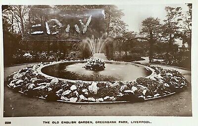 Old English Garden, Greenbank Park, Liverpool. Real Photographic Postcard. • 6£