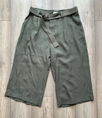 M&S Indigo Collection Size 16 Khaki Green Belted Culottes Cropped Trousers Wide • 8.85£