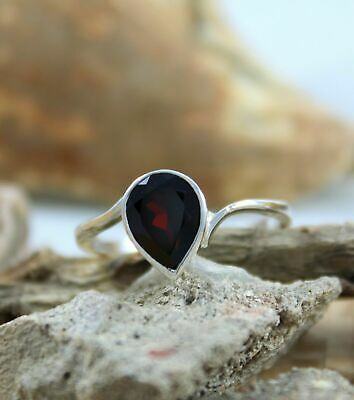 Natural Red Garnet 925Sterling Silver Handmade Gemstone Jewelry Promise Ring • 13.51£