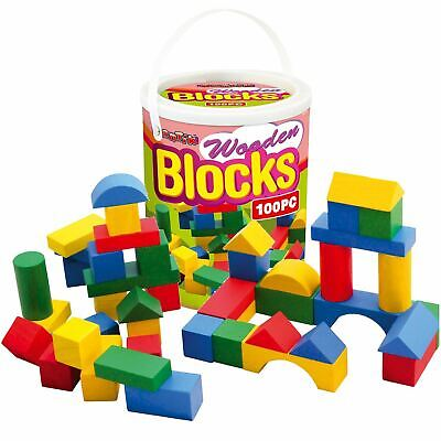 £11.95 • Buy 100pc Childrens Wooden Building Blocks Kids Construction Toy Bricks Set With Tub