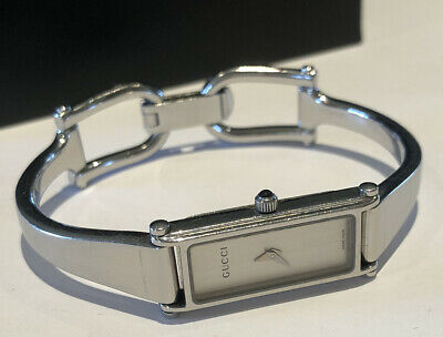 AU258 • Buy Authentic Gucci 1500L Ladies Sliver Swiss Bangle