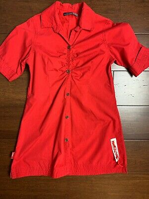 £12.35 • Buy Jean Bourget Girls Boutique Red Dress 100% Cotton Short Sleeve Button Front Sz 6