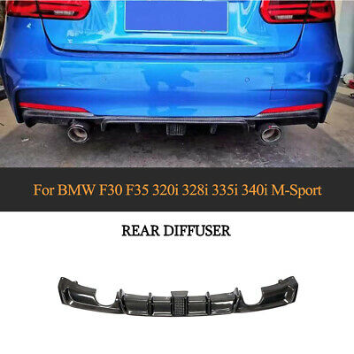 AU543.40 • Buy For BMW F30 F35 M Sport 2012-2018 Rear Bumper Diffuser Lip W/Light Carbon Fiber