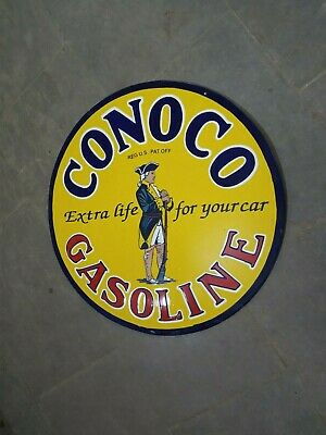 $ CDN179.48 • Buy Porcelain Conoco Gasoline Enamel Sign Size 30  Inches Double Sided