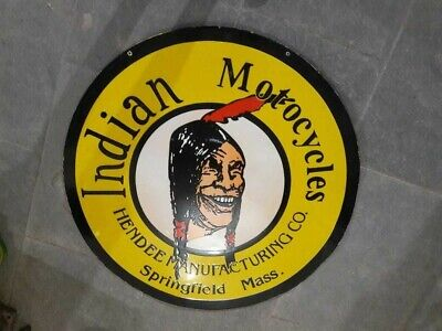 $ CDN90.71 • Buy Porcelain Indian Motorcycles Enamel Sign SIZE 30  Inches Double Sided