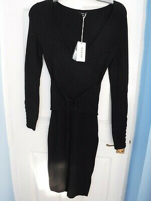 Brand New With Tags GUESS Black Knitwear Jumper Dress Size Small S UK 8 • 29.99£