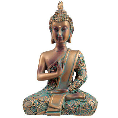 Copper & Verdigris Effect Thai Buddha - Statue Ornament Figurine 14cm • 10.71£