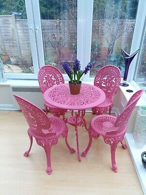 Cast Metal Garden Table And Four Chairs In Dark Pink • 250£