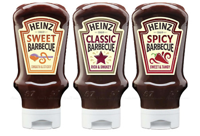 Heinz Barbecue BBQ Sauce 3 Pack, Sweet, Classic, Spicy • 10.99£