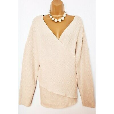 MISSGUIDED Beige Wrap Cross Over Knitted Ribbed Oversized Slouchy Jumper 16 • 16.99£