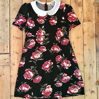 Hearts And Bows Flower Collar Dress - Size 6 • 1.10£