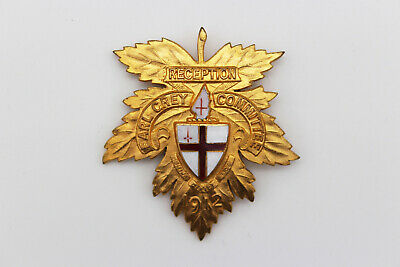 Earl Grey Committee Enamelled Badge - Marked 1912 - Excellent Condition • 2.99£