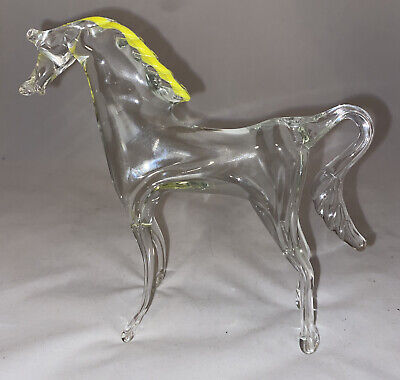 Large Vintage Murano Clear Glass Standing Horse Yellow Mane 15cms Tall. VGC • 8£