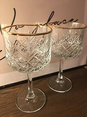 2 X Timeless Vintage Style Gin Wine Gold Rim Goblet Cocktail Chalice Cut Glasses • 22£