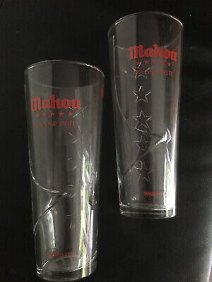Mahou Lager Pint Glasses Nucleated  X 2 Brand New Home Bar Pub Free  Postage • 9.99£