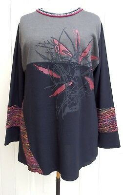 Quirky French Black & Mixed Knit Fabric Top SIZE 14/16  • 14.95£