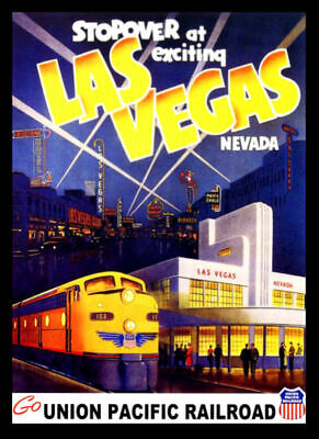 Union Pacific Las Vegas Railway Travel VINTAGE Print Poster Wall Picture A4 + • 3.99£