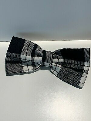 Tartan Hair Bow - Oversized Hair Bow - Black And White Bow - REDUCED TO CLEAR • 3.49£