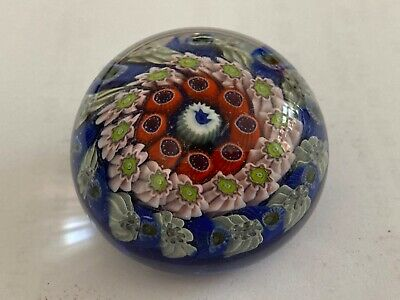REDUCED Small Strathearn Millefiori Paperweight Dated '66 On Paper Label On Base • 30£
