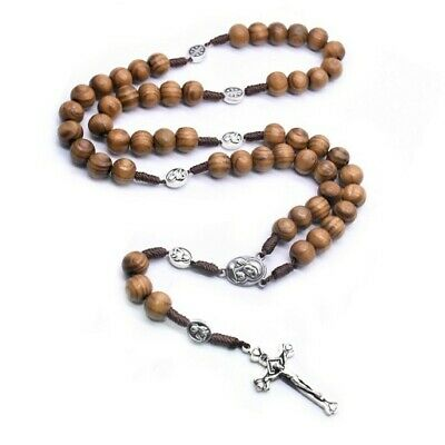 Our Lady Crucifix Cross Catholic Wooden Prayer Bead Rosary Necklace  • 4.95£