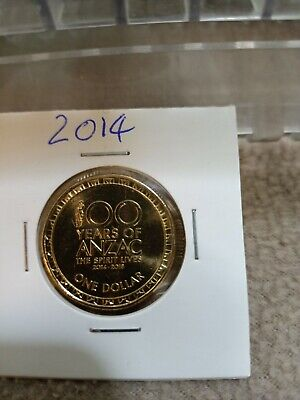 AU2 • Buy 2014 Australian $1 One Dollar Coin - 100 Years Of ANZAC - UNC From RAM Bag
