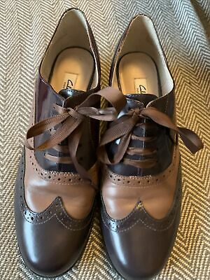 Clarks Narrative Brogue Style Shoes Patent Leather Two Tone Brown 6 • 3.90£