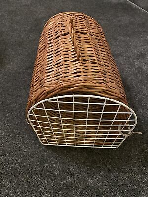Vintage Brown Wicker Travel Carrier Portable Box Crate Cat Dog Rabbit Toy • 9.99£