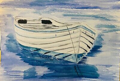 "Original Watercolour Painting Boat On Water  Sea/Landscape 6x8"" A5 By D Coleman • 0.99£"