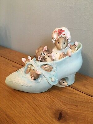 Beatrix Potter Mrs Mouse Shoe Money Box Ornament - Border Fine Arts - Mice -1994 • 8£