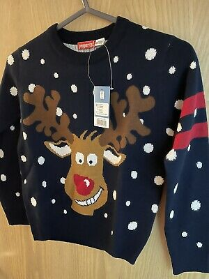 Christmas Jumper Rudolph Navy New! Age 6-8 Years • 1.10£