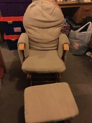 Habebe Recliner Rocking Glider Chair + Stool + Brake & Washable Covers - Natural • 30£