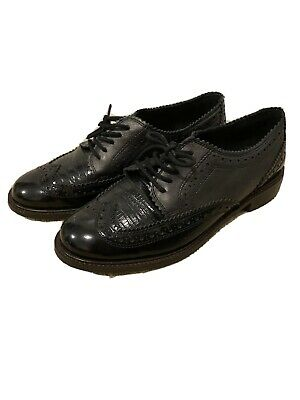 Brand New Womens Black Two Tone Patent Brogues Size 4 • 3£