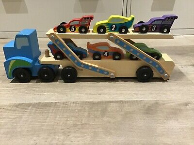 Melissa And Doug Wooden Car Transporter With X6 Racing Cars • 0.99£