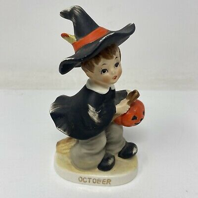 $ CDN49.76 • Buy **Vintage** Halloween October Boy Witch W Jack-O-Lantern Figurine