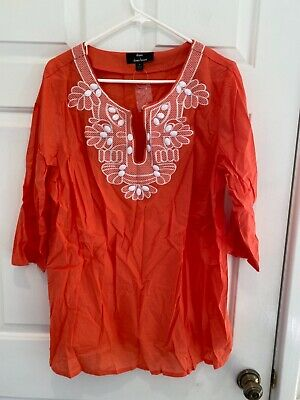 £13.09 • Buy DENNIS BASSO Cotton Voile 3/4 Sleeve Shirt W/ Embellishments CORAL 1X