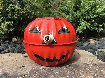 $ CDN38.91 • Buy Vintage Halloween Metal Trick Or Treat Jack O Lantern Candy Pail Horn Nose