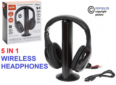 5 In 1 Wireless Cordless Rf Headphones Headset With Mic For Pc Tv Radio Skype • 12.55£