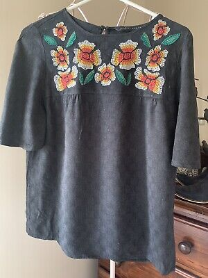 AU9.50 • Buy Zara Cotton Grey Embroidered Floral Top  Size Small 8-10