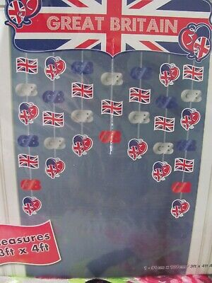 Great Britain Door Curtain Union Jack Icons Decoration Celebration GB Banner • 3.95£