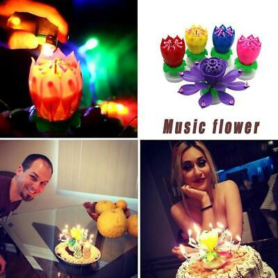 $ CDN6.63 • Buy Birthday Cake Lotus Flower Candle Decoration Blossom Sale Hot Rotate S0L4