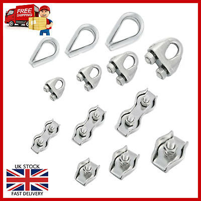 £5.25 • Buy Marine Grade 316 Stainless Steel Clamps Wire Rope Cable Simplex, Duplex, Thimble
