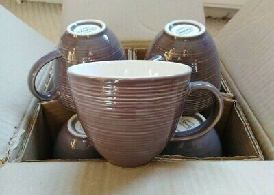 Denby 7 Large (400ml Capacity) Grey Mugs With Ridged Design. Great Condition!  • 20£